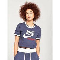 Nike Sportswear Archive Rib Crop Top - Blue , Navy, Size Xs, Women