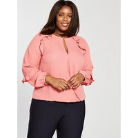 V by Very Curve Ruffle Detail Long Sleeve Blouse - Dusty Pink, Dusky Pink, Size 18, Women