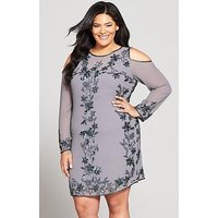 V by Very Curve Embellished Cold Shoulder Dress, Slate Grey, Size 22, Women