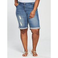 V by Very Curve Distressed Boyfriend Short - Light Wash, Light Wash, Size 26, Women