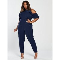V by Very Curve Ruffle Cold Shoulder Jumpsuit, Navy, Size 22, Women