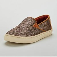 Toms Luca Iridescent Shoe, Gold, Size 3 Older