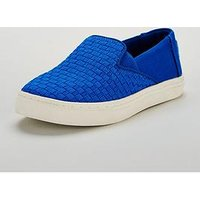 Toms Luca Basketweave Shoe, Blue, Size 2 Older
