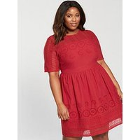 V by Very Curve Cutwork Midi Dress - Burnt Red, Burnt Red, Size 28, Women
