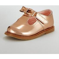 Mini V by Very Daphne Patent T-bar Baby Shoe, Rose Gold, Size 3 Younger
