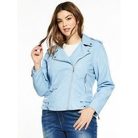 V by Very Curve Pale Blue PU Biker Jacket, Pale Blue, Size 24, Women
