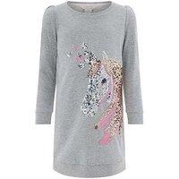 Monsoon Una Unicorn Sweat Dress, Grey, Size 9-10 Years, Women