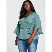 V by Very Curve Jacquard Wrap Angel Sleeve Blouse, Dusty Mint, Size 28, Women