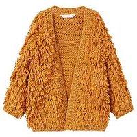Mango Girls Metallic Knitted Cardigan, Ochre, Size Age: 6-7 Years, Women