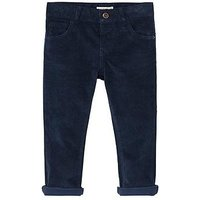Mango Baby Boys Cord Trouser, Navy, Size 9-12 Months