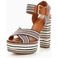 Glamorous Aztec Platform Heel Shoe - Tan , Tan Multi, Size 8, Women