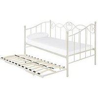 Product photograph showing Juliette Metal Day Bed And Trundle Bed With Mattress Options Buy And Save - Bed Frame Only