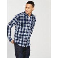 Wrangler One Pocket Checked Shirt, Navy, Size S, Men
