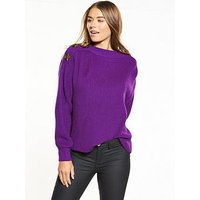 V by Very Boat Neck Button Detail Blouson Sleeve Rib Jumper, Purple, Size 14, Women