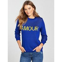 V by Very Amour Slogan Jumper, Cobalt Blue, Size 18, Women