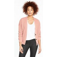 V by Very Short Fashioned Rib Button Cardigan, Blush Pink, Size 20-22, Women
