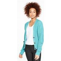 V by Very Short Fashioned Rib Button Cardigan, Aqua Blue, Size 16-18, Women