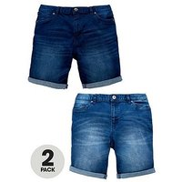 Boys, V by Very 2 Pack Denim Shorts, Light Wash/Mid Wash, Size Age: 10 Years