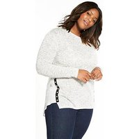 V by Very Curve Pearl Trim Woven Hem Top, Grey Marl, Size 20, Women