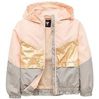 V by Very Girls Colour Block Hooded Jacket, Multi, Size Age: 15 Years, Women