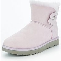 UGG mini bailey button poppy boot, Lavender, Size 7, Women