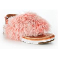 UGG Holly fluff sandal, Coral, Size 5, Women