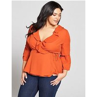 V by Very Curve Ruffle Wrap Sleeve Detail Blouse, Spice, Size 20, Women