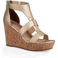 UGG Whitney Caged High Wedge Sandal - Gold, Gold, Size 3, Women