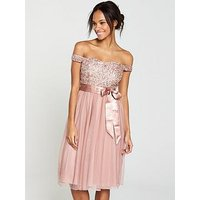 V By Very Embellished Prom Bridesmaid Dress - Dusty Rose