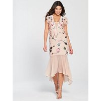 V By Very Floral Embroidered Sequin High Low Maxi Dress