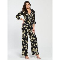V by Very Floral Printed Jumpsuit, Black Print, Size 8, Women