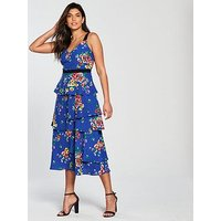 V by Very Printed Tiered Midi Tea Dress, Blue Print, Size 18, Women