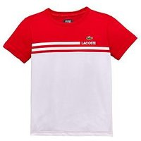 Boys, Lacoste Sports Sport Colourblock T-shirt, Red/White, Size 16 Years