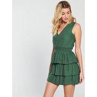 V by Very Tiered Linen Dress - Khaki, Khaki, Size 14, Women