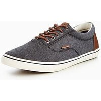 Jack & Jones Jack & Jones Vision Chambray Plimsoll, Black, Size 10, Men