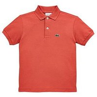 Boys, Lacoste Short Sleeve Classic Pique Polo, Sierra Red, Size 8 Years