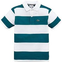 Boys, Lacoste Short Sleeve Classic Stripe Polo, White/Green, Size 1 Year
