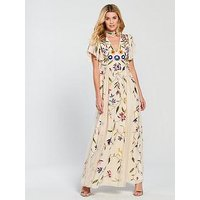 V by Very Embroidered Maxi Dress, Multi, Size 10, Women