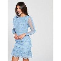 V By Very Premium Lace Frill Dress - Light Blue