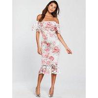 V By Very Frill Hem Printed Lace Pencil Dress - Ivory