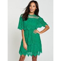 V by Very Lace Tiered Dress, Green, Size 8, Women