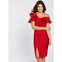 V By Very Lace Frill Pencil Dress