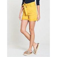 V by Very Paperbag Waist Short - Mustard, Mustard, Size 18, Women