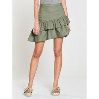 V by Very Ruffle Poplin Skirt - Khaki, Khaki, Size 12, Women