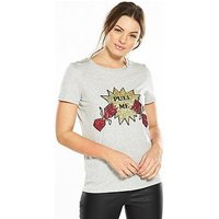 V by Very Pull Me Cracker Sequin Christmas T-shirt, Grey Marl, Size 20, Women