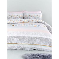 Catherine Lansfield Marble Stripe Cotton Rich Duvet Cover Set