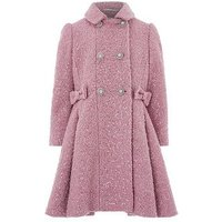 Monsoon Selina Sparkle Coat, Pink, Size 9-10 Years, Women