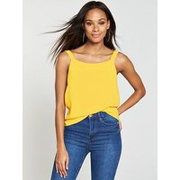 V by Very Eyelet Detail Cami, Yellow, Size 22, Women
