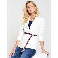 V by Very Belted Statement Fashion Jacket - White, White, Size 12, Women