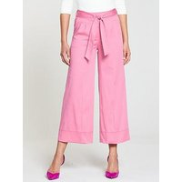 V by Very Wide Crop Trouser - Pink, Pink, Size 8, Women